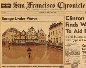 Der Linzer Burgplatz auf der Titelseite des San Francisco Chronicle v. 1.2.1995 Repro: Stadtarchiv Linz