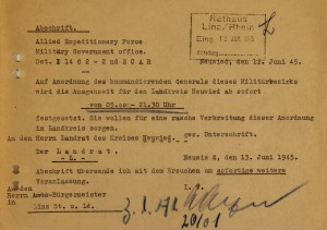 Anordnung über die Ausgangszeit im Landkreis Neuwied (12.6.1945)