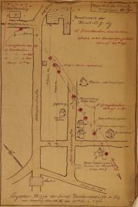 Lageplan-Skizze der alliierten Bombenabwürfe in Linz am 24.8.1940