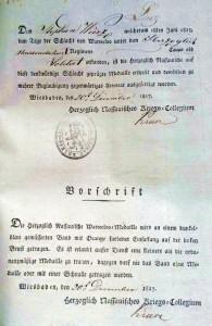 Verleihungsurkunde der Waterloo-Medaille für Stephan Wirz, 1817 Stadtarchiv Linz