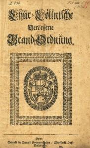 Kurkölnische Brandordnung, 1730, Titelseite