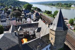 Schrägluftaufnahme der Linzer Burg, 2012