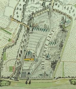 Die Linzer Stadtbefestigung; Auschnitt aus: Linz am Rhein und Umgebung aus der Vogelperspektive 1760. Original: Landeshauptarchiv Koblenz