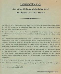 Leseordnung der NS-Volksbücherei in Linz-Stadt, umdatiert auf den 20. Oktober 1943.